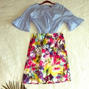 Bright floral pencil skirt